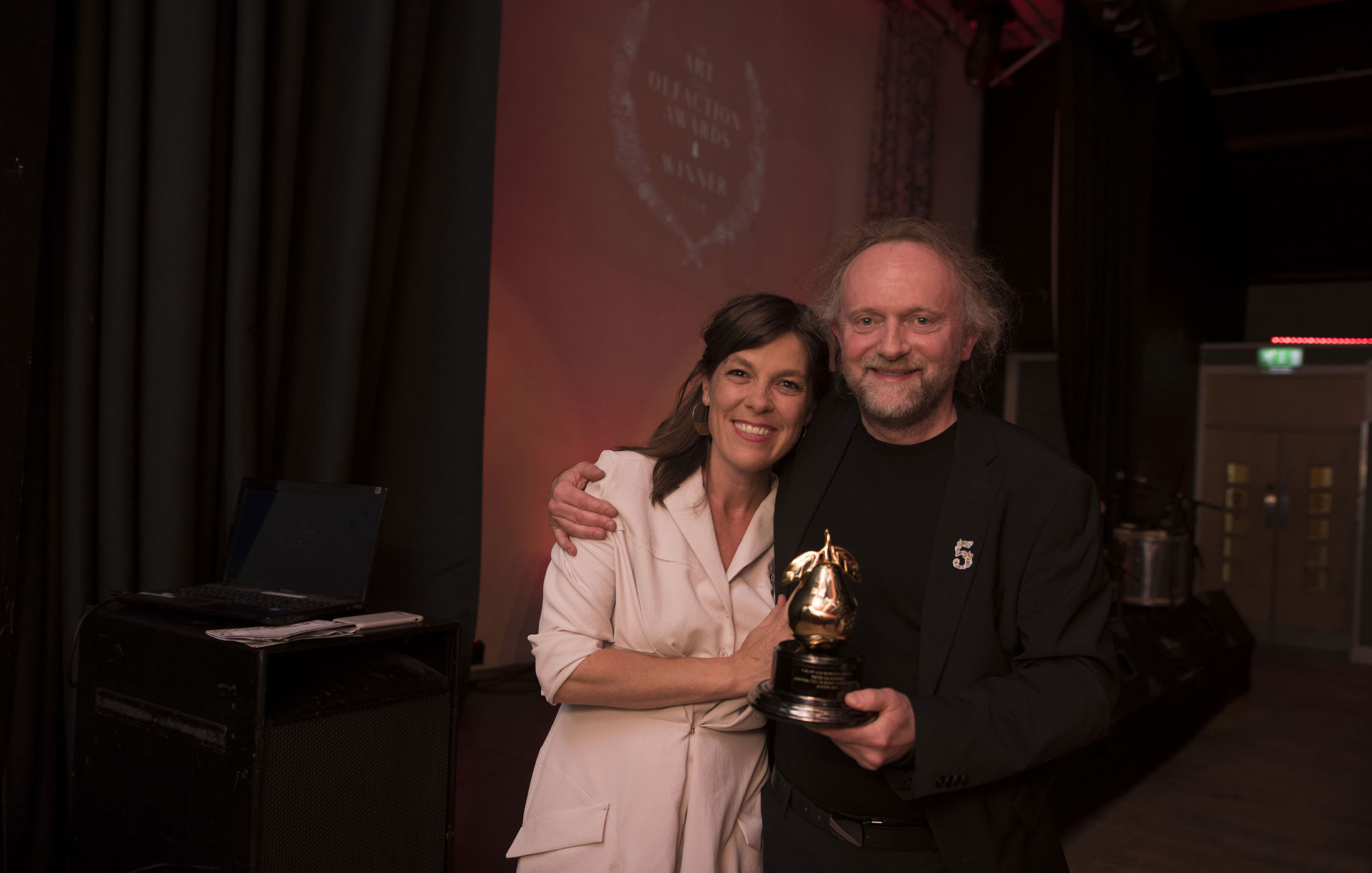 Saskia Wilson-Brown and Peter de Cuper at the Art and Olfaction Awards, Photo by Marina Chichi